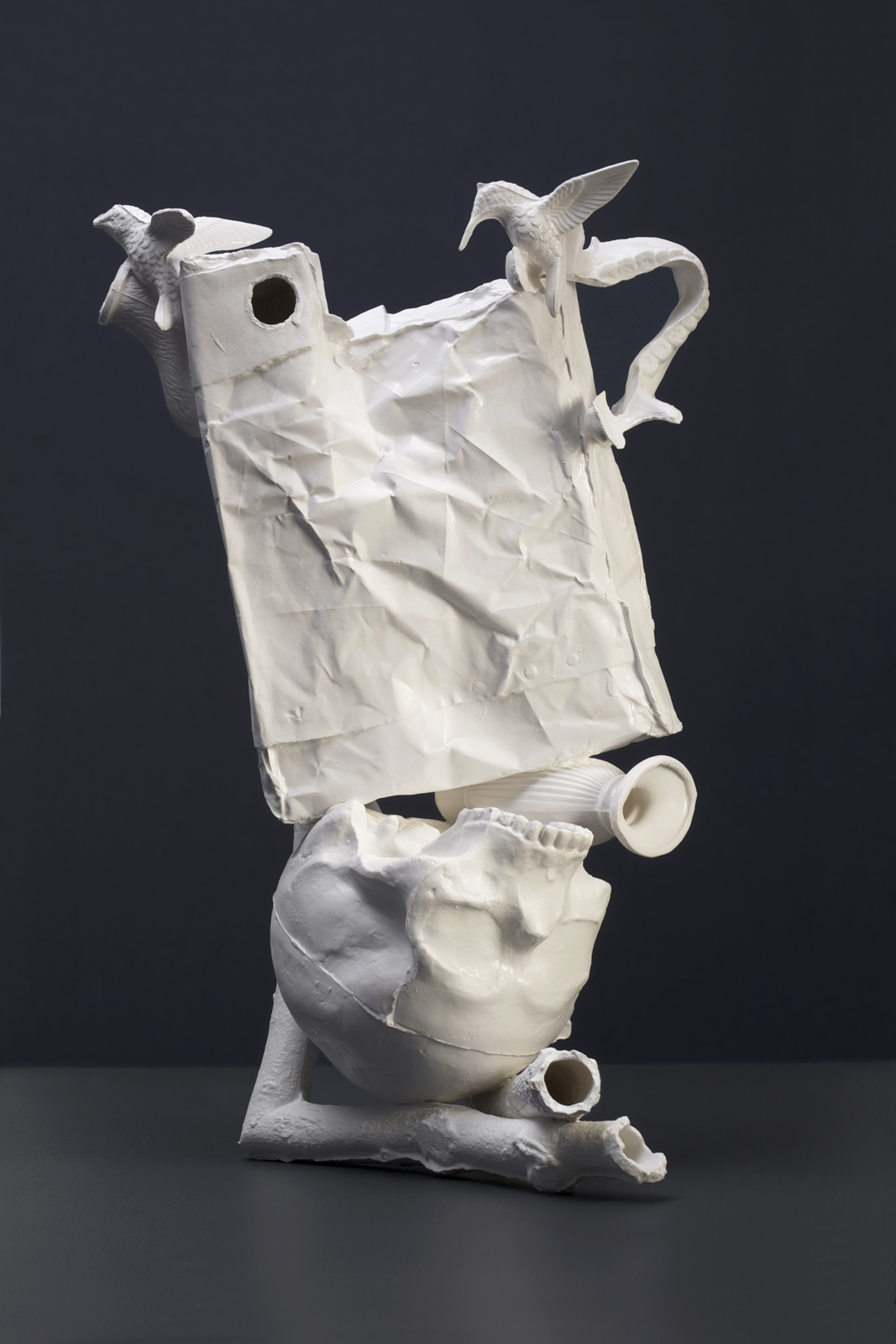 Fuddling Maneuver: Rod Bamford : 2011: Bone China, Clay waste: 290 x 200 x 480 mm: Photograph Ian Hobbs.