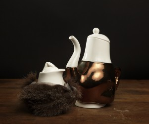 George Briggs (teapot) and Dolly (milkjug): Broached Colonial Commission: Trent Jansen design: Cone Nine Studios: 2011: porcelain: sizes variable. Photograph courtesy Broached Commissions.