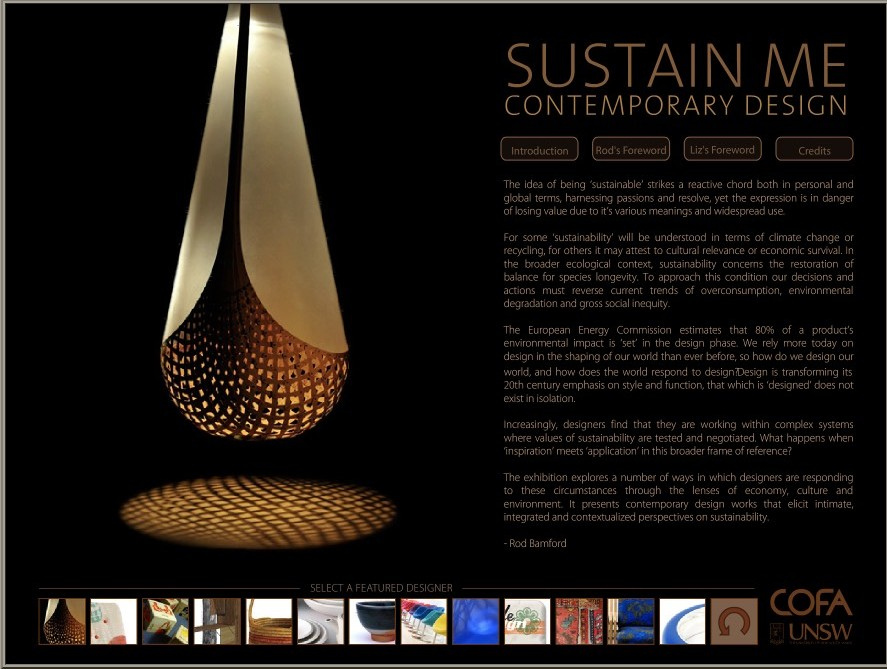 'sustain me : contemporary design' exhibition