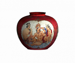 Norman Lindsay vase-image map fitted-digital render: 2003: Rod Bamford